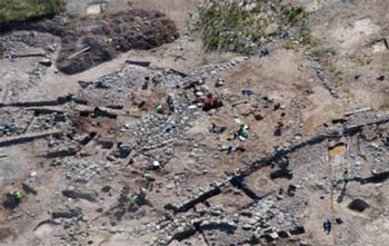 An aerial view of the excavation of a late prehistoric settlement at Parc Cybi, Ty Mawr, Holyhead ,Isle of Anglesey, in the summer of 2007. ©Gwyneddd Archaeological Trust